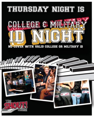 Doors 7pm, Dueling Pianos 8pm. No Cover with College or Military ID